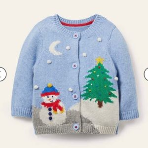 NWT mini boden Christmas Scene Cardigan